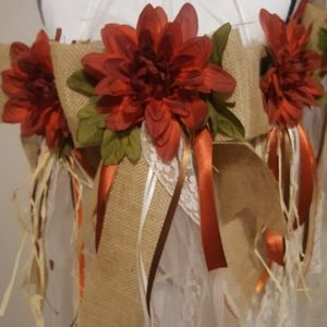 5 Orange Burgundy Flower Burlap Pew Bow Party Swag